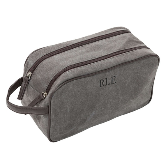 Dopp Kit in Steele Grey with Brown Accents