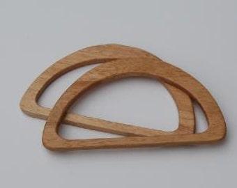 "Wooden D Shaped Bag Handles 165mm/6.5"""