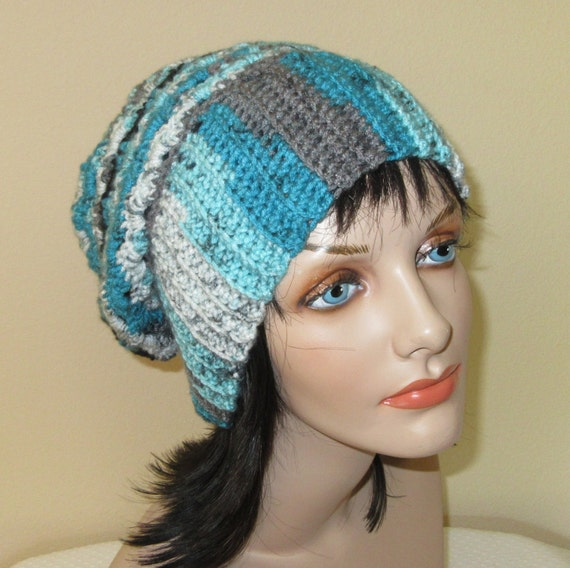 Crochet Hat, Oversize Slouchy Beanie For Women, Teal Black Grey White Slouch Hat, Winter Fashion, Fall Fashion, Boho Slouch Hat