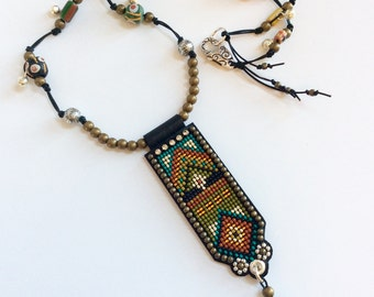 Beaded Necklace with African Trade Beads and Turquoise