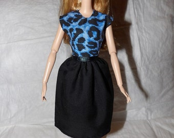 Blue & black Leopard print dress for Fashion Dolls - ed974