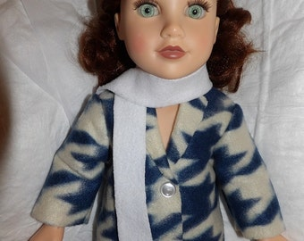 Fleece coat in blue & white houndstooth print with white scarf for 18 inch dolls - ag317