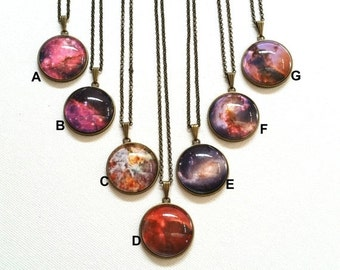 30OFF Xmas - Collection Handmade Galaxy Necklace,Universe Necklace,Space Necklace, Solar System Necklace, Glass Dome Cabocbon NC643(A-G)#241