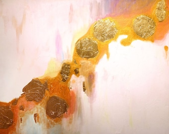 """Hope - large painting inspired by color, shine, white, pure, and contemplation. acrylic and gold leaf on wood. 30"""" x 40"""""""