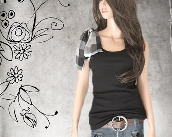 Black shoulder bow tank/Plaid gingham top/Adjustable shoulder bow/Sleeveless women tee