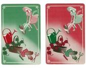 GARDENING IN STYLE (2) Vintage Single Swap Playing Cards Scrapbooking Paper Ephemera