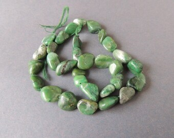 Green Jade, Smooth Freeform Nuggets, 16 Inches