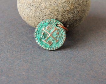 Antique Coin Replica, Copper Coin Replica, Handmade Artisan Copper, Artisan Jewelry, Spanish Cobb Coin, Rustic, Green Verdigris Patina