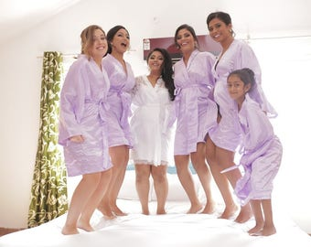 Bridesmaid Robes Lavender Lilac wedding robes bridesmaid silk robe dressing gown personalized silk robe kimono robes floral robe bridal robe