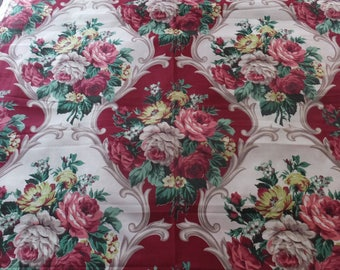 Vintage Barkcloth Like Cabbage Rose Red Green Floral Bouquet Pattern Fabric
