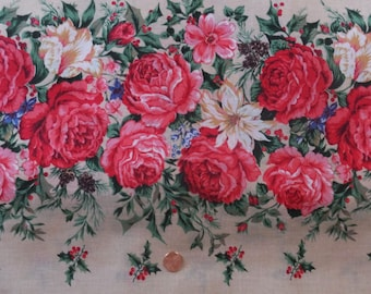 Vintage Cranston Cabbage Rose Red Green Floral Holly Pinecones Cotton Fabric