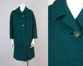 60s Vintage Green Textured Wool Coat. Winter Jacket (M, L)