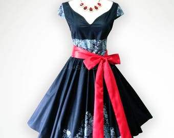 Joyful Black Vintage Roses 50s Pin up Rockabilly Swing Dress Full Swing Skirt