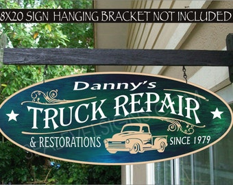 AUTO 950 Truck Repair Shop Restorations Garage Speed Shop Man Cave Gift Family Name Aluminum Custom Personalized Sign