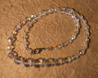 Vintage Irridescent Clear Crystal Graduated Bead Necklace