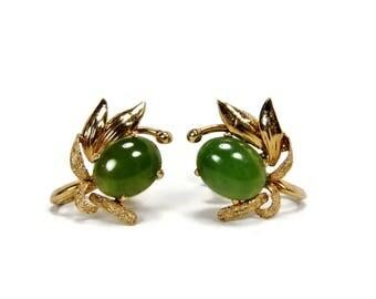 TYL 14K Jade Earrings, TY Lee, Yellow Gold, Screwback Earrings, Vintage Jade Earrings, Green Jade, 1940s Jewelry, Estate Jewelry