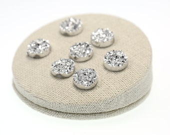Metallic Silver 12mm Faux Druzy Crystal Clusters Cabochons Chunky Nuggets Sfa0321