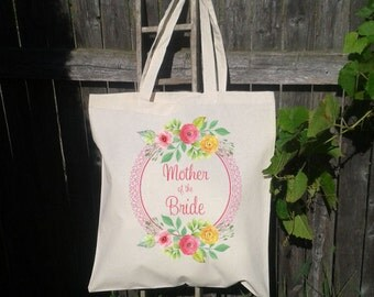 Wedding Tote Mother of the Bride, Mother of the Groom, Wedding Tote Bag, Wedding Party Bags,  Canvas Tote Bags, Floral Wreath