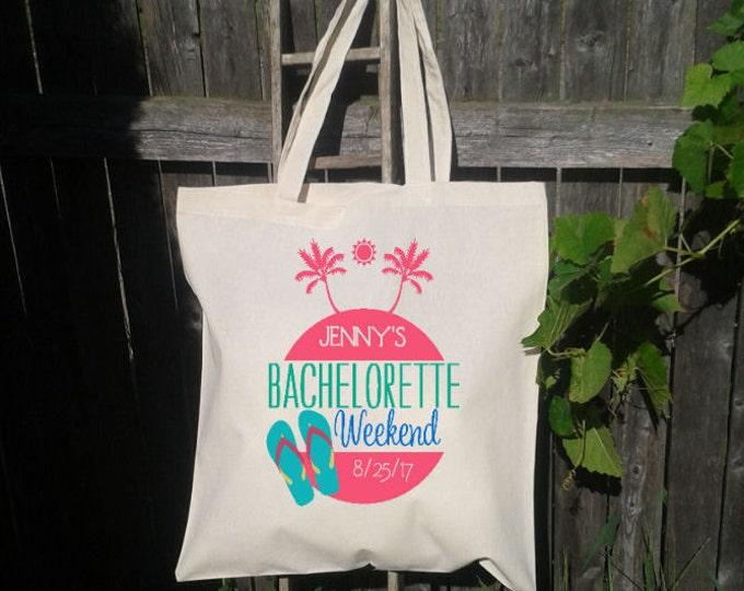 Wedding Tote Palm Tree Bachelorette Tote Bag, Flip Flops, Bridesmaid Tote Bag, Bridal Party Tote, Wedding Welcome Bag, Hotel Bag