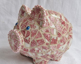 The Piggy with the Unicorn Tattoo - Mosaic Piggy Bank