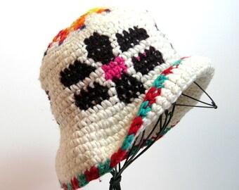 Vintage Crocheted Hat, Grunge, Hippy