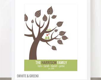 Modern Love Birds in a Tree, Perfect for Families and Couples Alike - 8x10, 11x14 or 16 x 20 Print - Fully Customizable