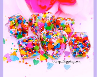 Sprinkle Rings, Awesome Sprinklelicious Hearts n Squares Adjustable  Resin Ring , Handmade By: Tranquilityy