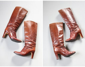 chestnut brown leather high heeled boots - 70s Italian leather boots / ladies vintage leather boots - high heel 1970s boots