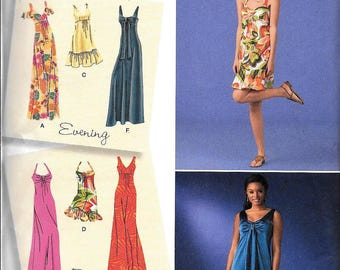 Simplicity 2582 Day Evening Dress Maxi Mid Mod Retro Style Empire Waist Sewing Pattern Summer Size 14, 16, 18, 20, 22