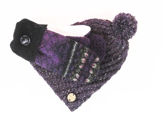 Womens Wool Mittens and Hat Set PURPLE & BLACK Fair Isle Sweater Wool Mitts Fleece Lined Gloves Eco Gift Under 50 for Her by WormeWoole