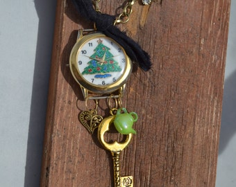 Christmas Vintage Watch Necklace
