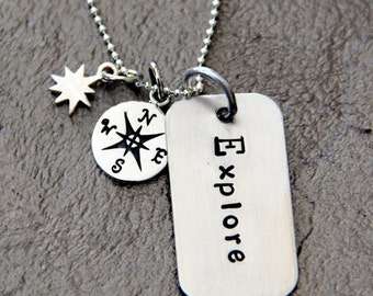 HUGE SALE Explore NEcklace - Graduation Gift - Poetry -Explore Inspirational Necklace - Compass Pendant -Explore Graduation Pendant - Compas