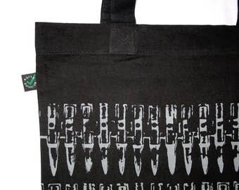 "Organic Tote Bag ""bullets grey"" punk DIY screen-print white eco"