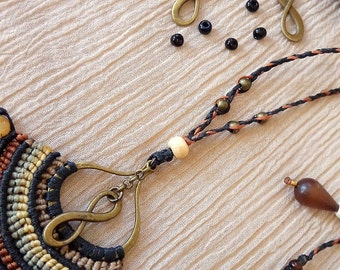 Goddess necklace - macrame necklace - black and brown african queen beaded OOAK jewel