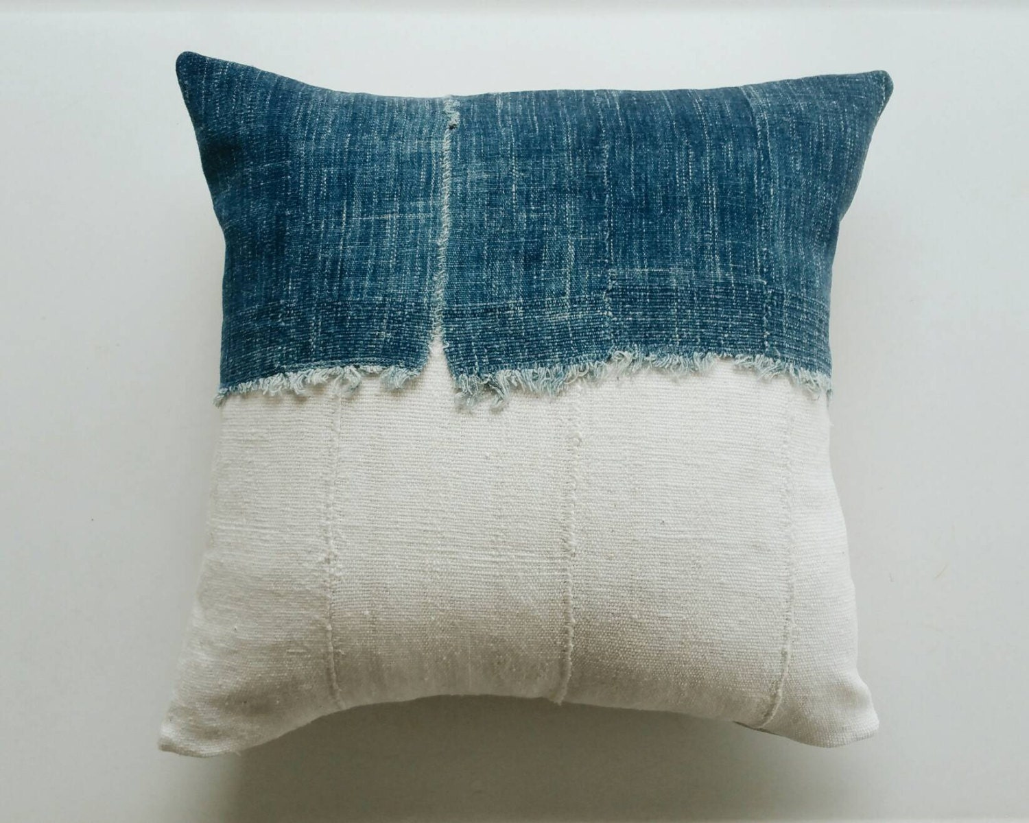 Blue White Throw Pillow : Blue and White Mudcloth Pillow Cover Earthy Boho Throw