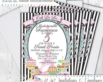 Paris  Party Invitations, 5X7 Custom Invitations by Cutie Putti Paperie