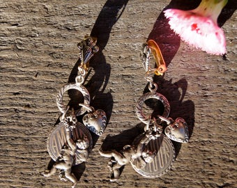 Art Nouveau Cupid Heart Charms Dangle Earrings