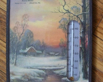SaLe Thermometer Funeral Parlor Service Elliott City Maryland Antique 1940's Oddities