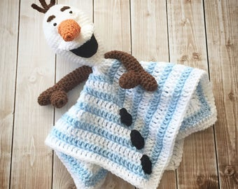 Olaf inspired Lovey/ Security Blanket/ Plush Doll/ Stuffed Toy/ Soft Toy Doll/ Amigurumi Doll/ Frozen Dolls- MADE TO ORDER Copy