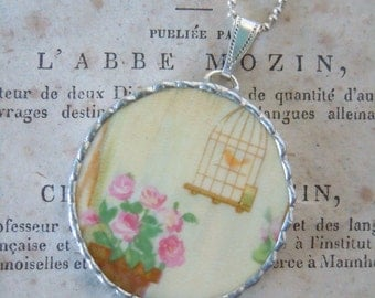 Fiona & The Fig-Vintage - Flowers and Bird Cage - Broken China-Soldered Necklace - Pendant-Charm-