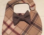 Dapper Boys  plaid tweed x-small bib bow tie snazzy dressy dapper baby shower birthday