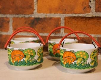 Vintage 70s Price Import Psychedelic MUSHROOM Mod Citrus Colors Porcelain Serving Soup Rice BOWLS Dishes Orange Woven Bamboo Handle Japan