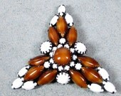 Christmas Sale RARE Art Deco Milk Glass and Art Glass Triangle Brooch, Japanned Blackened Metal Art Deco