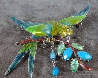 Vintage Liz Claiborne Enamel Parrot Brooch Pin Gold plated  Figural Jewelry Parrot Bird Brooch