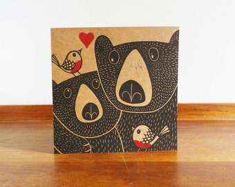 Bears and Robins, Mothers Day Card, Original Hand Printed Card, Linocut Card, Blank Greeting Card, Brown Card, Free Postage in UK,