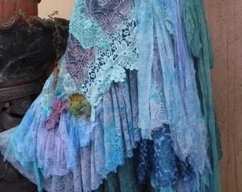 bohemian wrap skirt, bohemian skirt, shabby skirt, lace skirt, lace, wedding skirt, large skirt, gothic skirt, mori girl skirt,