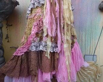 wedding skirt,tattered skirt, mori girl, stevie nicks, bohemian skirt, gypsy skirt, lagenlook skirt, bellydance, wrap skirt..