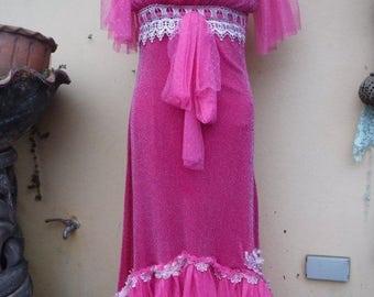 20%OFF maxi wedding bridesmaid vintage bohemian gypsy hippy lagenlook dress...smaller to 36'' bust..