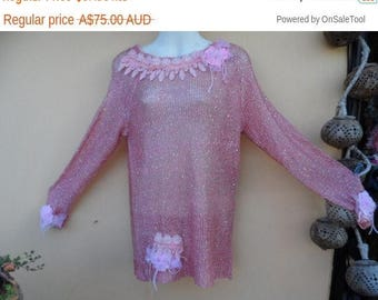 """20%OFF Pink lurex long sleeved top with shabby detail... medium to 44"""" bust...."""