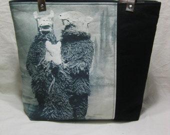 Vintage Halloween Photo Tote Bag - Furry Costumes